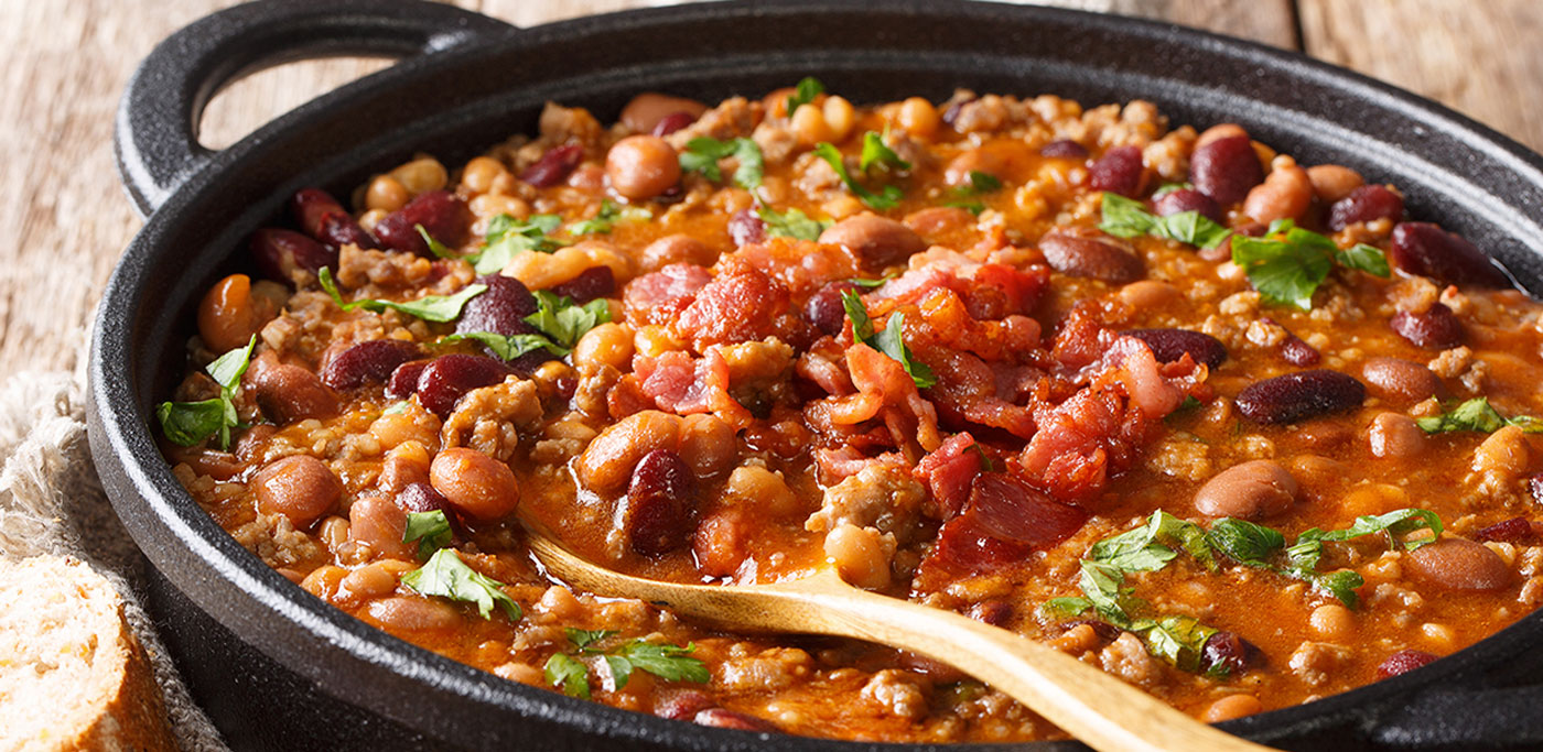 Baked Pinto Beans in dish