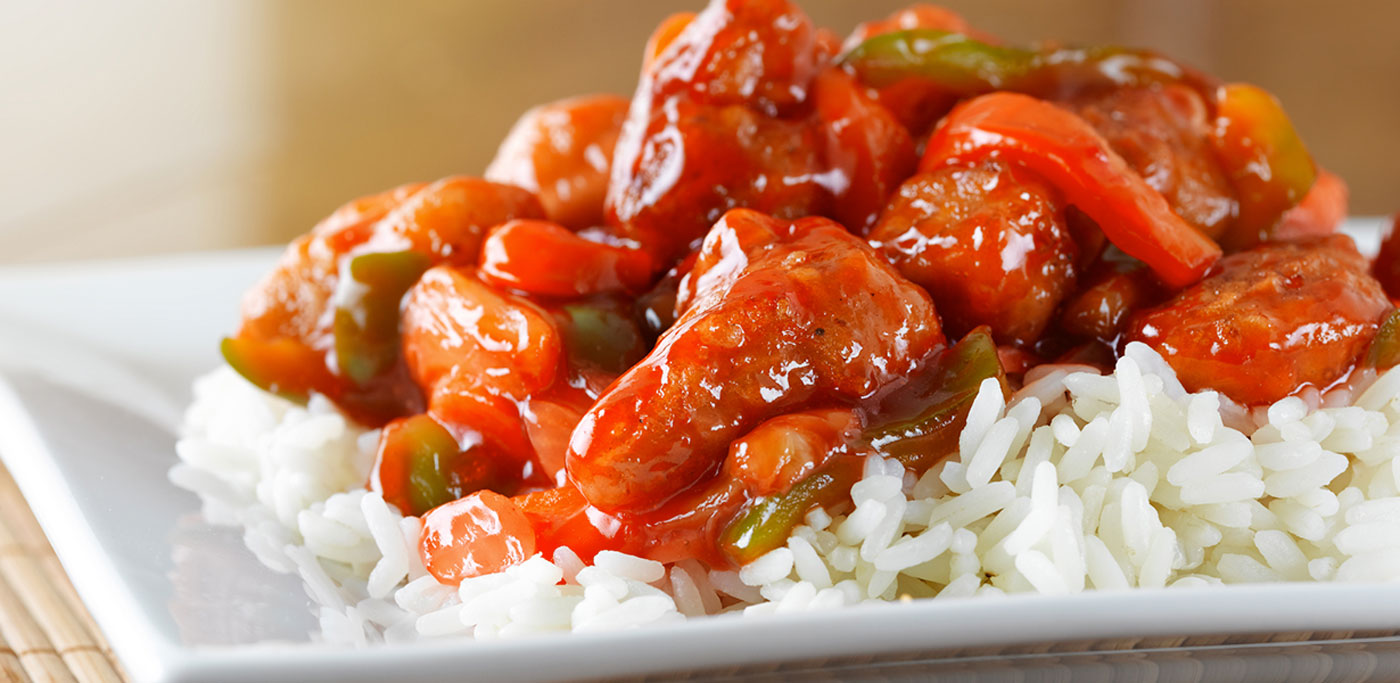 Sweet and sour chicken on white rice